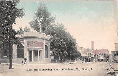 C 1910 South Side Bank   Stores Bay Shore Li Ny Post Card