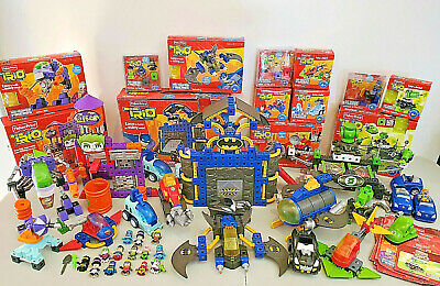 FISHER PRICE TRIO DC SUPER FRIENDS LOT 17 Sets Extras Batman Flash Lantern Joker