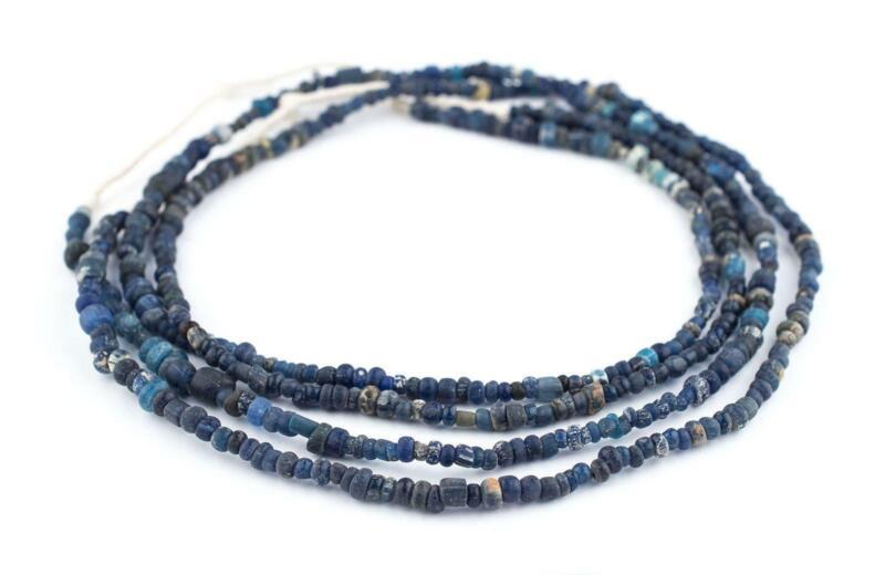 Blue Ancient Djenne Nila Glass Beads 4mm Mali African Seed 24-26 Inch Strand