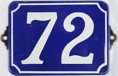 Large old blue French house number 72 door gate plate enamel steel metal sign