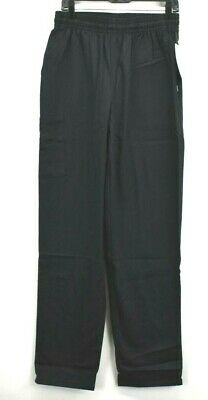 White Swan Five Star Chef Apparel Black Pull On Baggy Chef Pants Medium