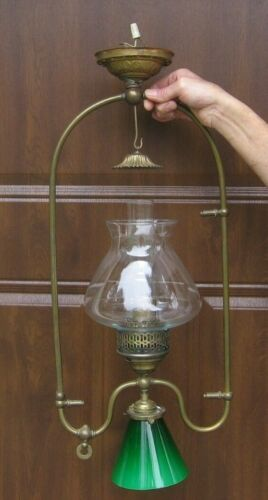 Vintage Japanned Style Electric Light Fixture with Shades & Smoke Bell~Stock rk