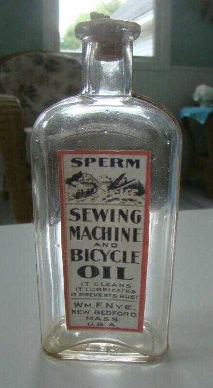 Wm.F. Nye Sperm Sewing Machine and Bicycle Oil Reproduction Bottle- New Bedford