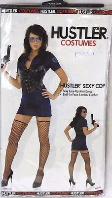 Womens Hustler Sexy Cop Police Officer Adult Dress Up Halloween Costume