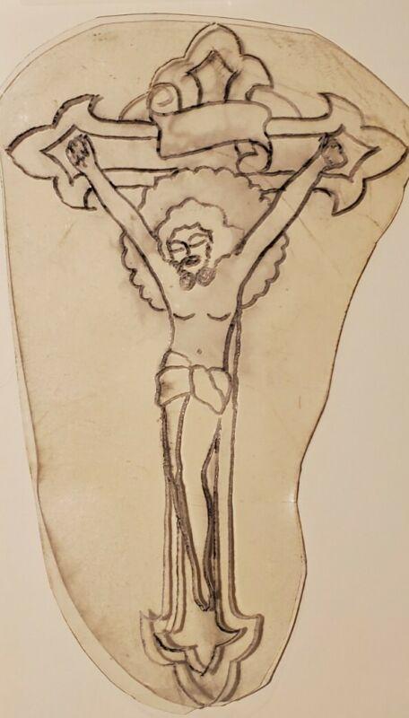 vintage tattoo original jesus crucifix acetate flash stencil bert grimm pike 4x6