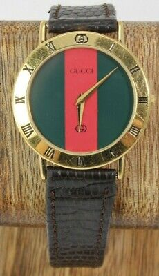 Vintage GUCCI 3000M 18K GOLD PLATED RED & GREEN DIAL BROWN LEATHER WATCH FS!