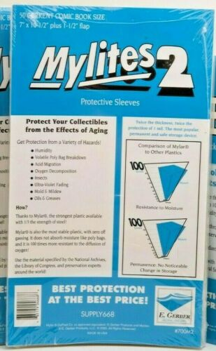 """E Gerber 50-Count *MYLITES 2 COMIC BAGS* Current-Size (7"""" x 10-1/2"""") 700M2 