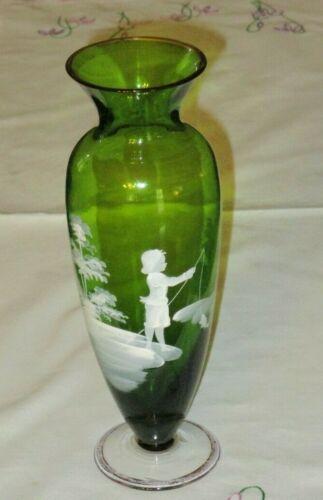 "Antique 9 1/4"" MARY GREGORY VASE  - Green Vase -Boy Fishing"