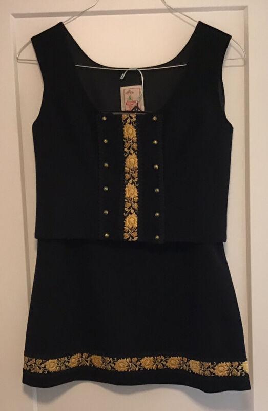 Vintage Kuhnen German Dirndl Black Vest & Skirt Outfit Sz 14 (44) Gold Accents