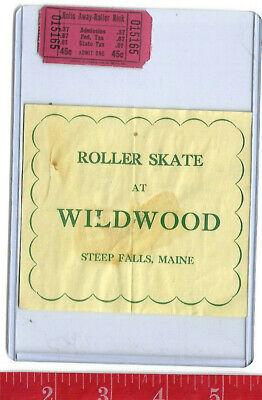 vintage lot roller rink decal Wildwood Steep Falls Maine & ticket