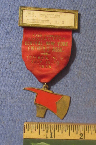 VINTAGE 1936 ITHACA NY CENTRAL NY FIREMENS CONVENTION BADGE WITH METAL AX