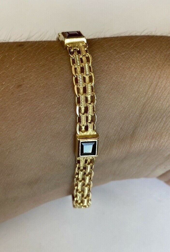 14k Yellow Gold w/ Colored Stones Women's Bracelet 6.3mm  7 1/4 Inches PRETTY!!! 5