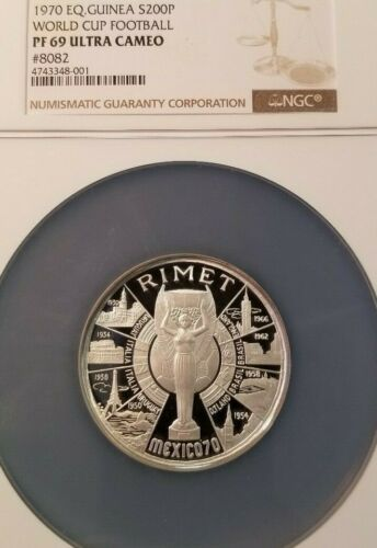 1979 GUINEA SILVER 200 PESETAS WORLD CUP FOOTBALL NGC PF 69 ULTRA CAMEO SCARCE