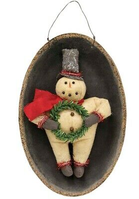 Primitive Christmas Black Wool Cat w Bow Snowman Charm Ornament