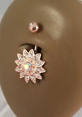 New 14g Surgical Steel Rose Gold CZ Flower Belly Button Navel Ring Body Jewelry