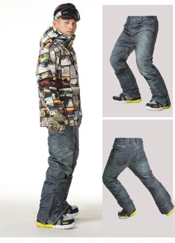 GSOU SNOW Men Warm Snow Pants Double Board Snowsuits Waterpr