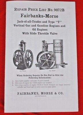 Fairbanks-morse Type T Stationary Gas Oil Hit N Miss Engine Repair Price List
