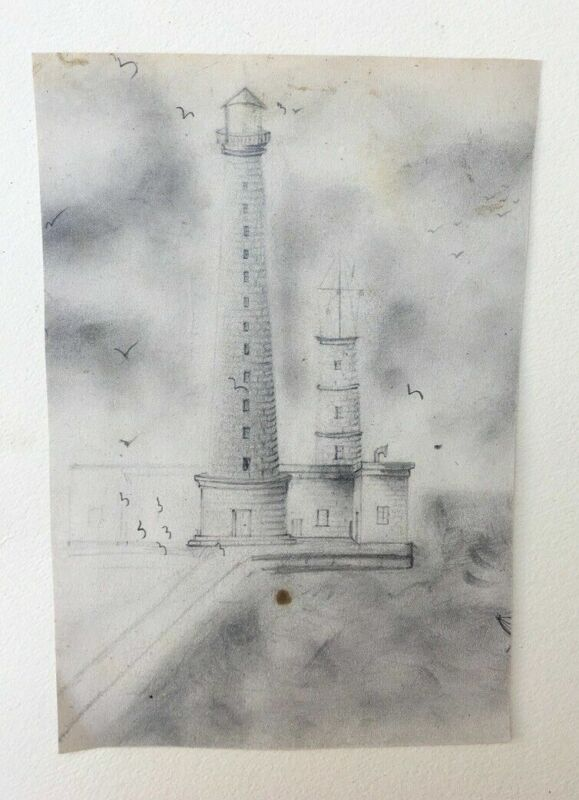 Drawing old graphite, lighthouse