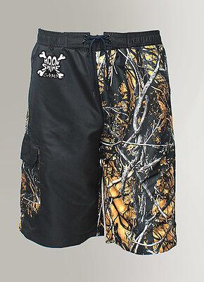 Mens Camo Swim Trunks / Board Shorts in Orange & Black Camouflage -