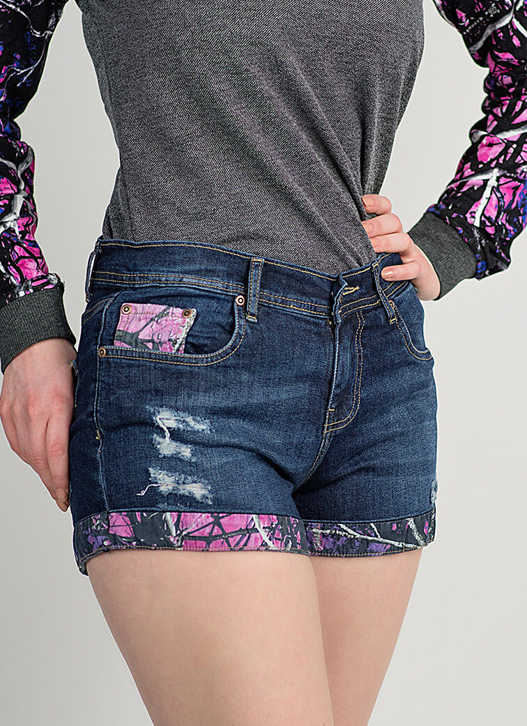 Pink Purple Camouflage Women's Jean Shorts | Muddy Girl Camo
