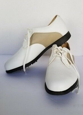 NIKE GOLF Verdana' White and Tan Blucher Saddle Golf Shoes Women 8.5 EUR 40 UK 6