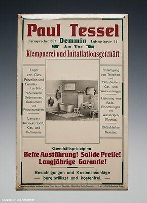 Blechschild Paul Tessel Demmin Klempnerei... um 1910