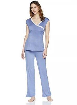 New Lamaze Womans Maternity Blue Stretch Set Pajama Set Sz XL Stretch NWT