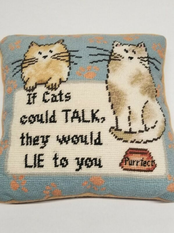 Funny Cat Needle Point Pillow Cats Lie