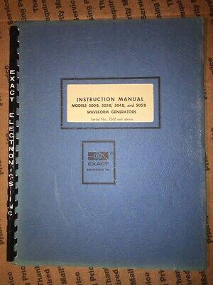Exact Waveform Generators Instruction Manual Models 500 B 503 B 504 B 505 B