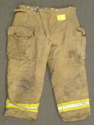 44x30 Firefighter Pants Bunker Fire Turn Out Gear Tan Brown Morning Pride P982