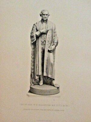 Statue, Hon. W.E. Gladstone, by J. Adams Acton, Vintage 1874 Antique Art Print