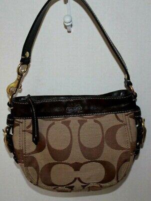 COACH 41856 Brown Zoe Signature Handbag Top Handle Pouch Bag Nice! ()