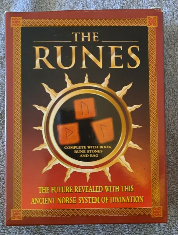 The Runes Ancient Norse System Of Divination Book Stones & Rune Bag NEW