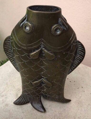 BRONZE TWO  FISH VASE