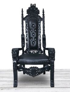 BLACK Mahogany Lion King Throne Chair. Hand Carved Intricately Detailed  Gothic