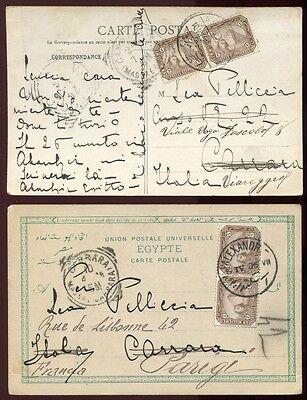 Ägypten Egypt 1906 Bildpostkarten nach Italien + Frankreich gelaufen / 11