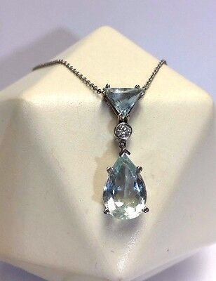 Beautiful! 7CT Natural Aquamarine and Diamond 14K White Gold  Necklace Pendant