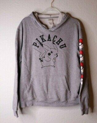 Pikachu Hoodie For Men (Pokemon Pikachu Mens Hoodie Grey Pullover Sweatshirt Size)