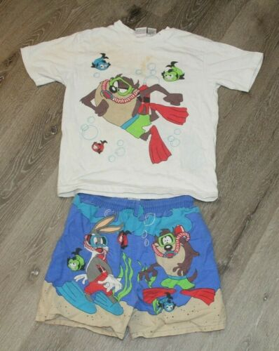 Vintage 90s Looney Tunes Taz Bugs Bunny Swim Trunks and Shirt Size L 8-10