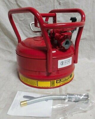 Justrite 7325120 2.5 Gallon Galvanized Steel Red Flammable Can