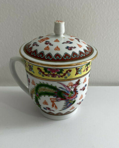 Vintage Chinese Dragon Print Coffe Cup with Lid