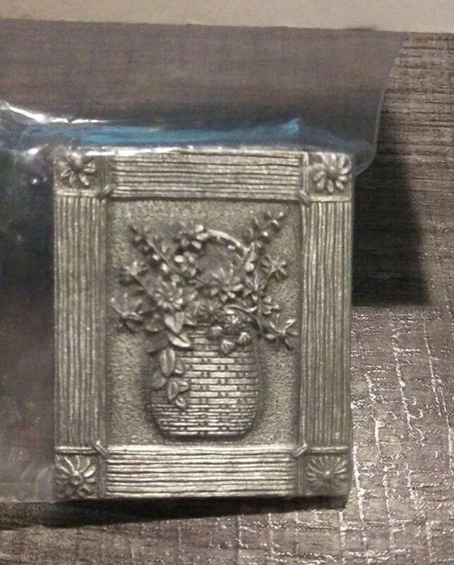 RARE Longaberger Flower Basket Pewter Magnet