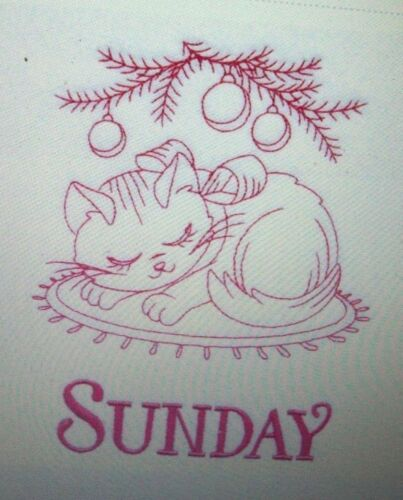 MEOWY Christmas Kittens Cats Days of the Week Embroidered Floursack Towel Set