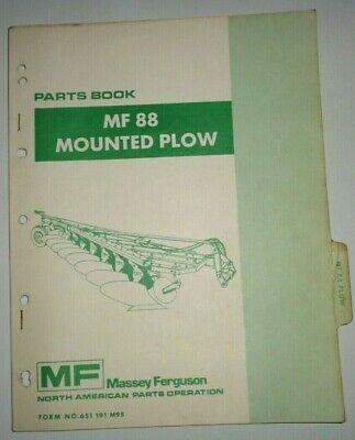 Massey Ferguson Mf 88 Mounted Plow Parts Catalog Manual Book Original