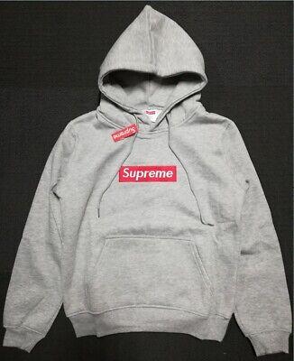 Supreme Hoodie Embroidered Box Logo Hoodie Grey Unisex Teen Adult