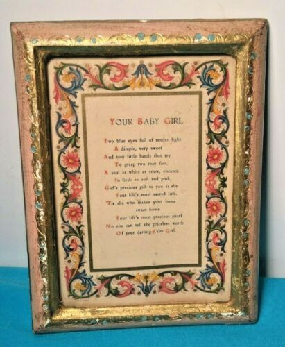 "Vtg Italian Print Your Baby Girl in Italy Wood Gilded Florentine Frame 5.5""x7"""
