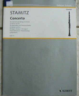 Stamitz Concerto,Piano accompaniment for Clarinet solo, NEW,Schott Musik Int'l