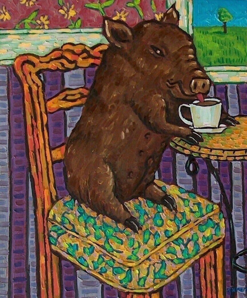 brown pig coffee  art PRINT 11x17 artwork gift modern cafe decor