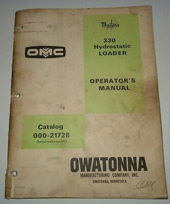 Omc Mustang 330 Hydrostatic Skid Steer Loader Operators Owners Manual Original