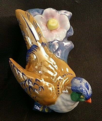 "Vintage Lusterware Wall Pocket Hand Painted Song Bird Flowers JAPAN 5"" Tall"